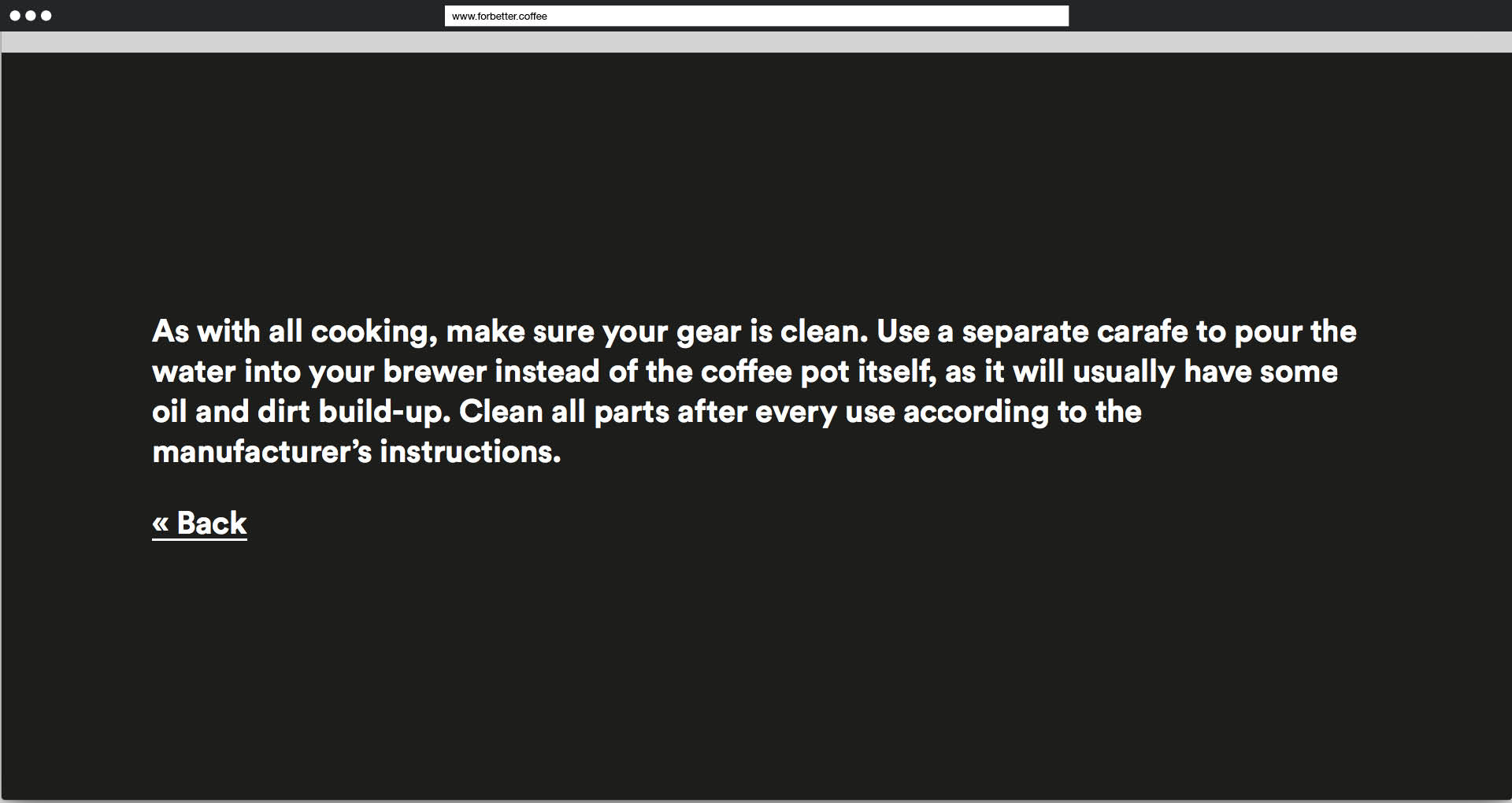 Screenshot: For better Coffee: Why is this so important?