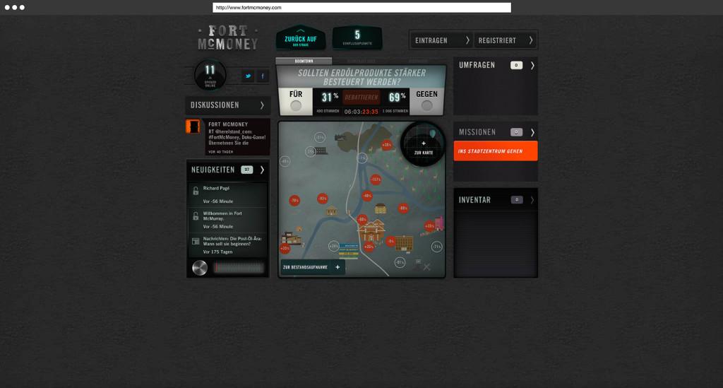 Übersicht möglicher Missionen, Umfragen und anderer interaktiver Elemente