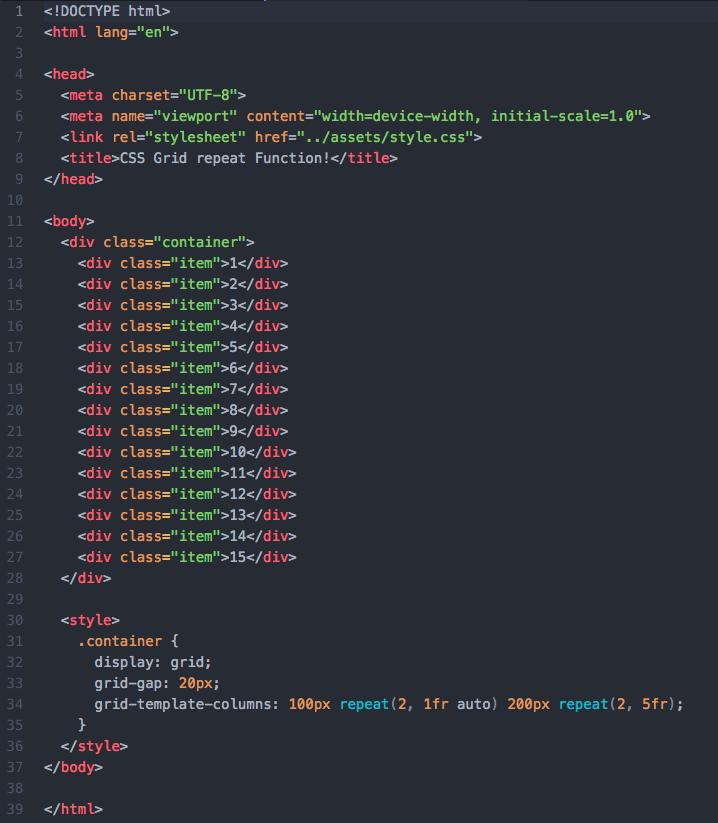 Beispielhaftes Layout mit CSS Grid
