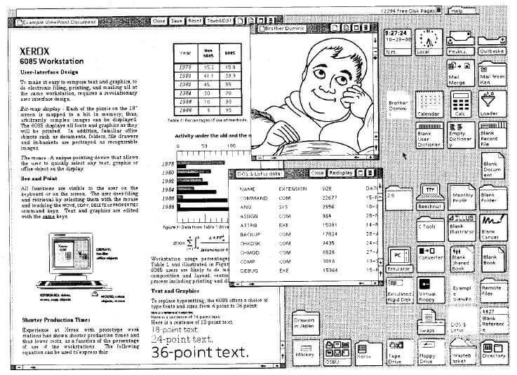 Grafische Benutzeroberfläche des Xerox Star