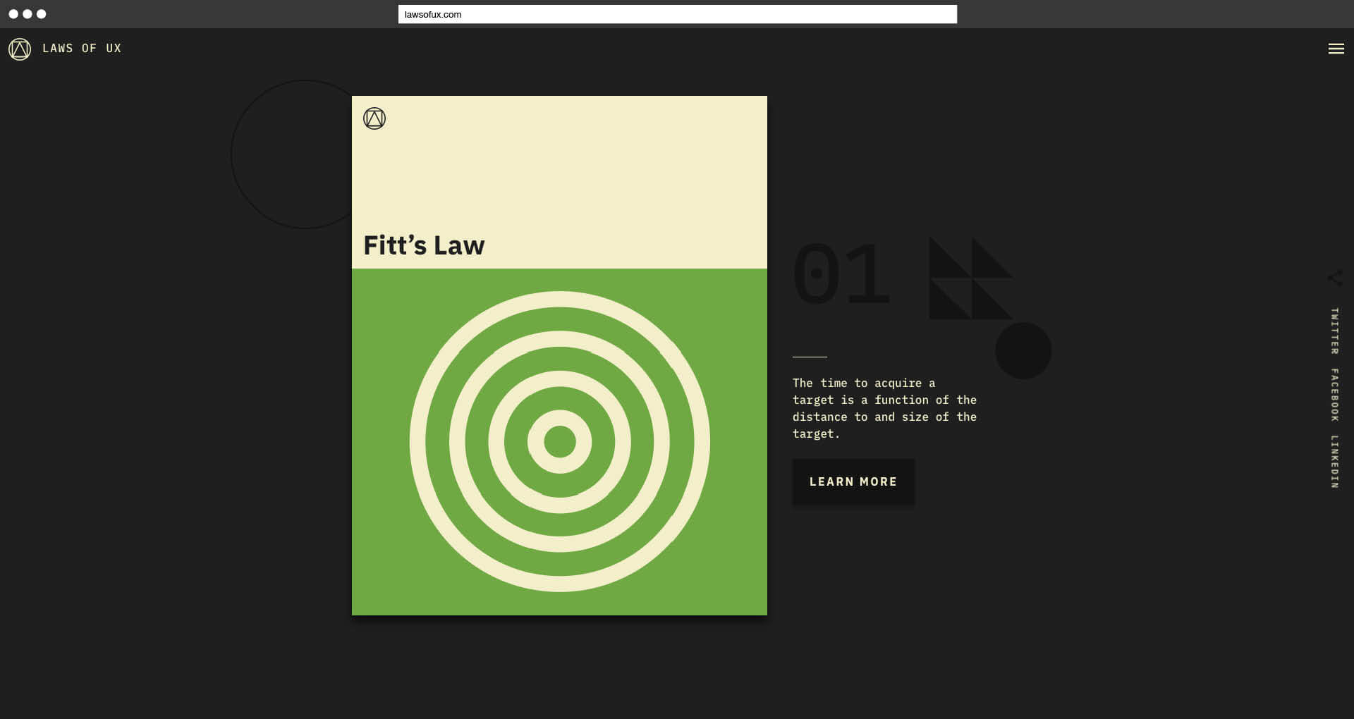 Laws of UX Jon Yablonski Fitt's Law