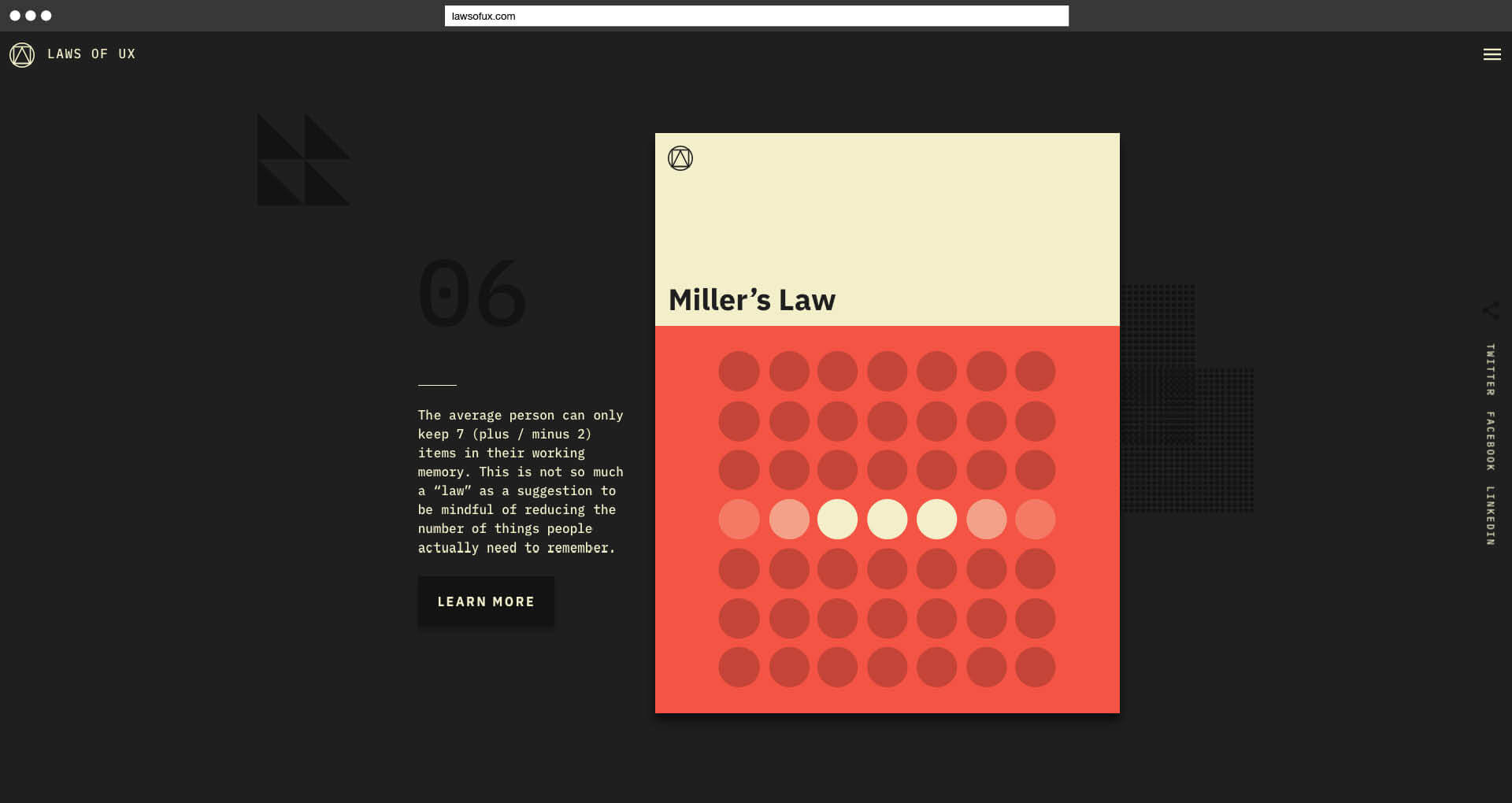 Laws of UX Jon Yablonski Miller's Law
