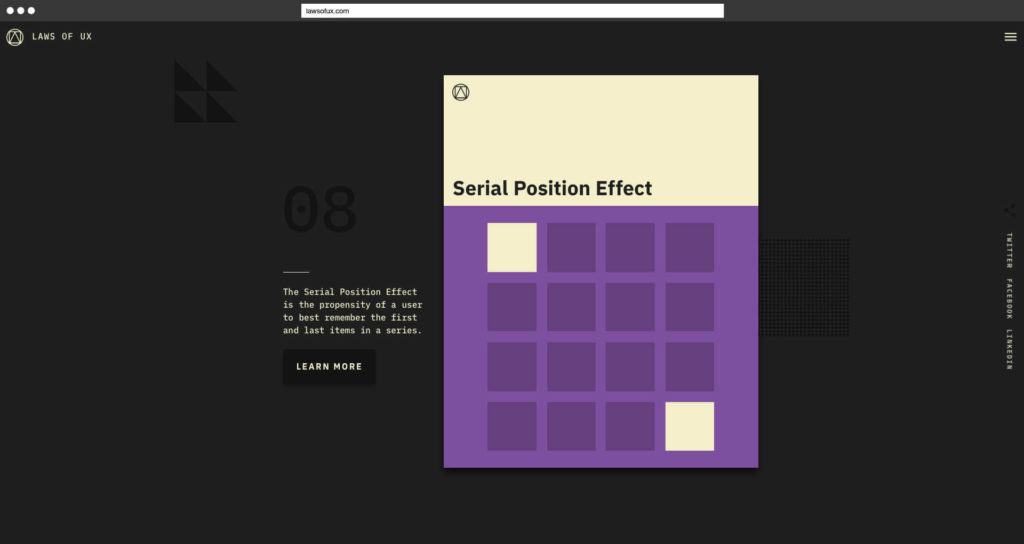 Laws of UX Jon Yablonski Serial Position Effect